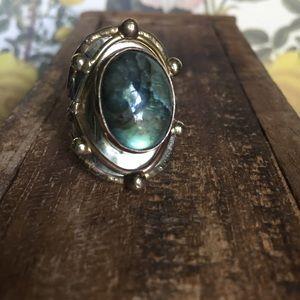 Artisan mixed metals labradorite ring 8